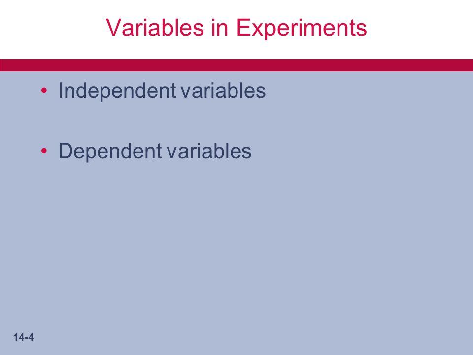14-5 Advantages of an Experiment.