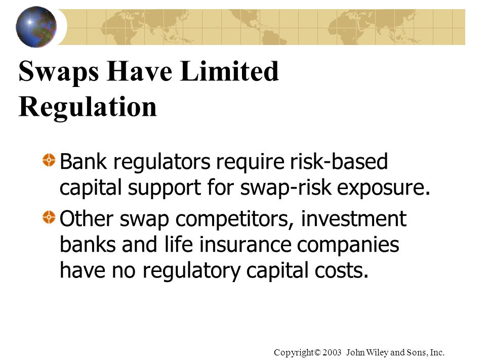 Copyright© 2003 John Wiley and Sons, Inc. Swaps Have Limited Regulation Bank regulators require risk-based capital support for swap-risk exposure. Oth