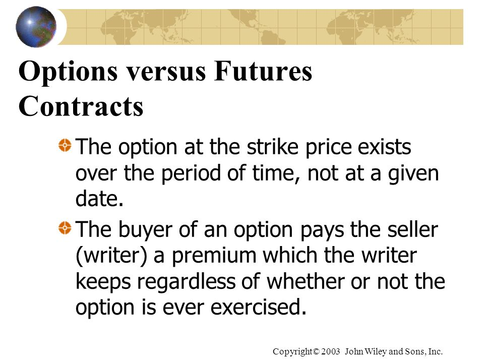 Copyright© 2003 John Wiley and Sons, Inc. Options versus Futures Contracts The option at the strike price exists over the period of time, not at a giv