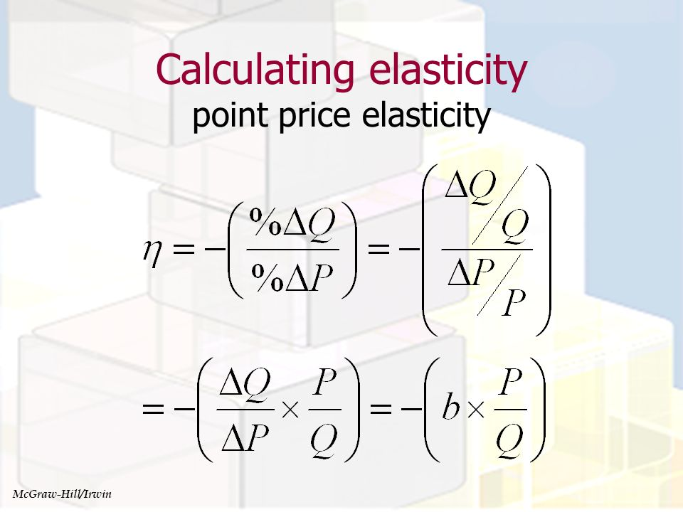 Managerial Economics and Organizational Architecture, Chapter 4 Calculating elasticity point price elasticity McGraw-Hill/Irwin