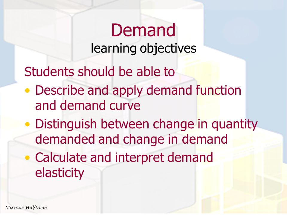 Managerial Economics and Organizational Architecture, Chapter 4 Demand Function A mathematical representation of the relationship between the quantity demanded and all factors influencing demand: Q = f(X 1, X 2,… X n ) where Q is quantity demanded and the X i s are the factors influencing demand McGraw-Hill/Irwin
