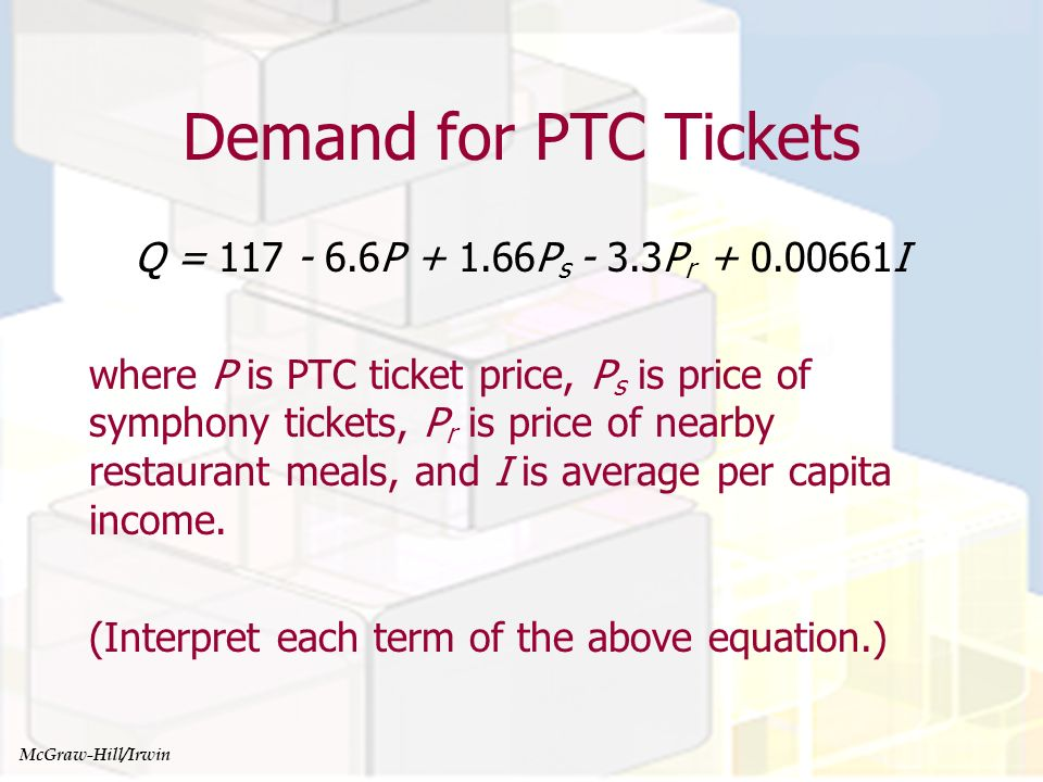 Managerial Economics and Organizational Architecture, Chapter 4 Variable values Suppose the variables have the following values: P = $30 P s = $50 P r = $40 I = $50,000 How many tickets will PTC sell.