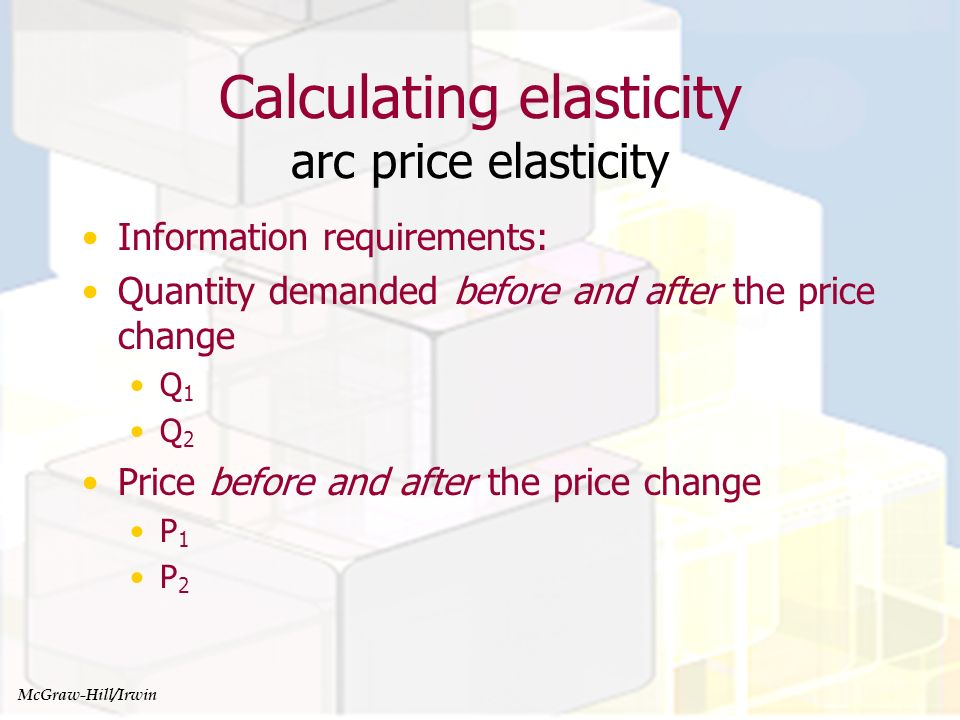 Managerial Economics and Organizational Architecture, Chapter 4 Calculating elasticity arc price elasticity McGraw-Hill/Irwin