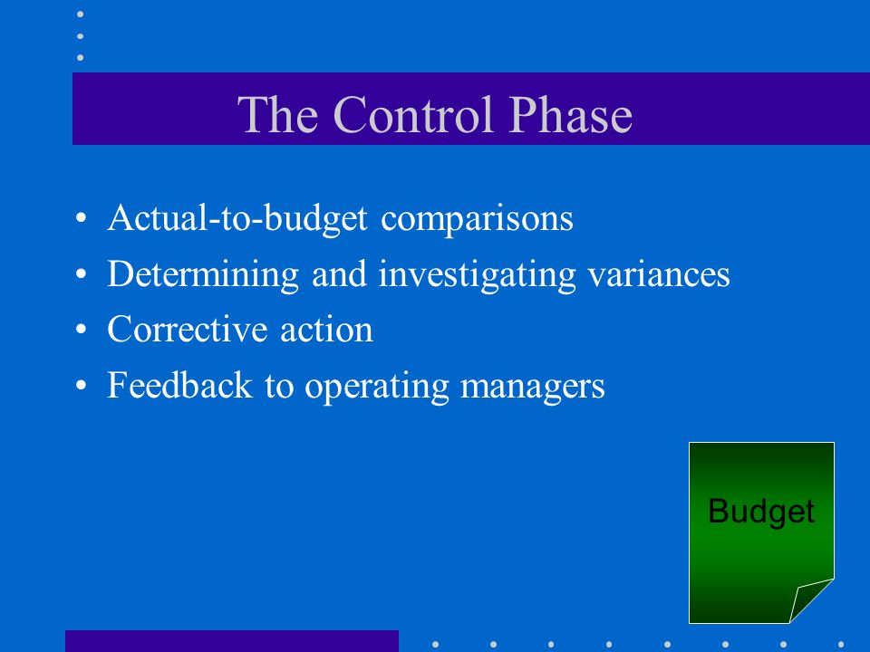The Control Phase Actual-to-budget comparisons Determining and investigating variances Corrective action Feedback to operating managers Budget