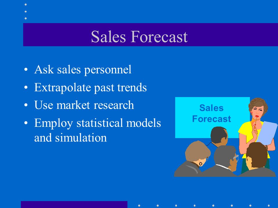 Sales Forecast Ask sales personnel Extrapolate past trends Use market research Employ statistical models and simulation Sales Forecast