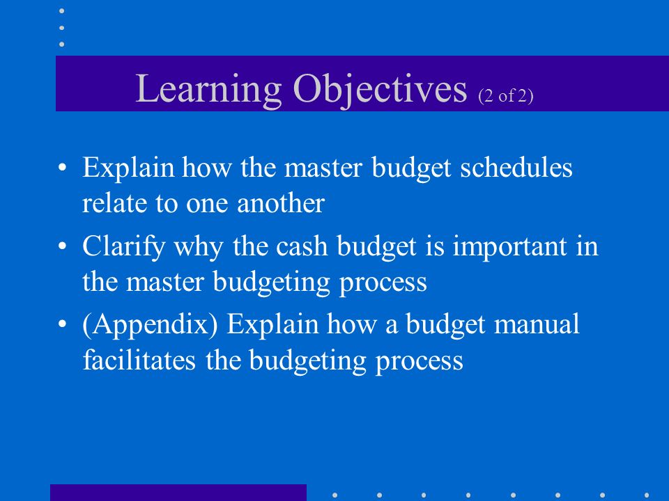 Learning Objectives (2 of 2) Explain how the master budget schedules relate to one another Clarify why the cash budget is important in the master budg