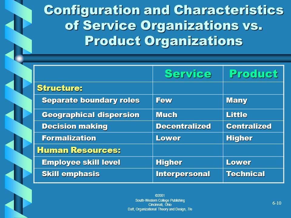 ©2001 South-Western College Publishing Cincinnati, Ohio Daft, Organizational Theory and Design, 7/e 6-10 Configuration and Characteristics of Service