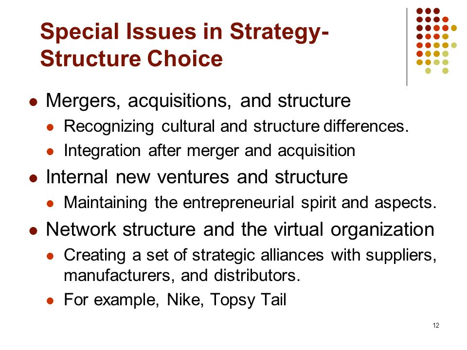 12 Special Issues in Strategy- Structure Choice Mergers, acquisitions, and structure Recognizing cultural and structure differences.