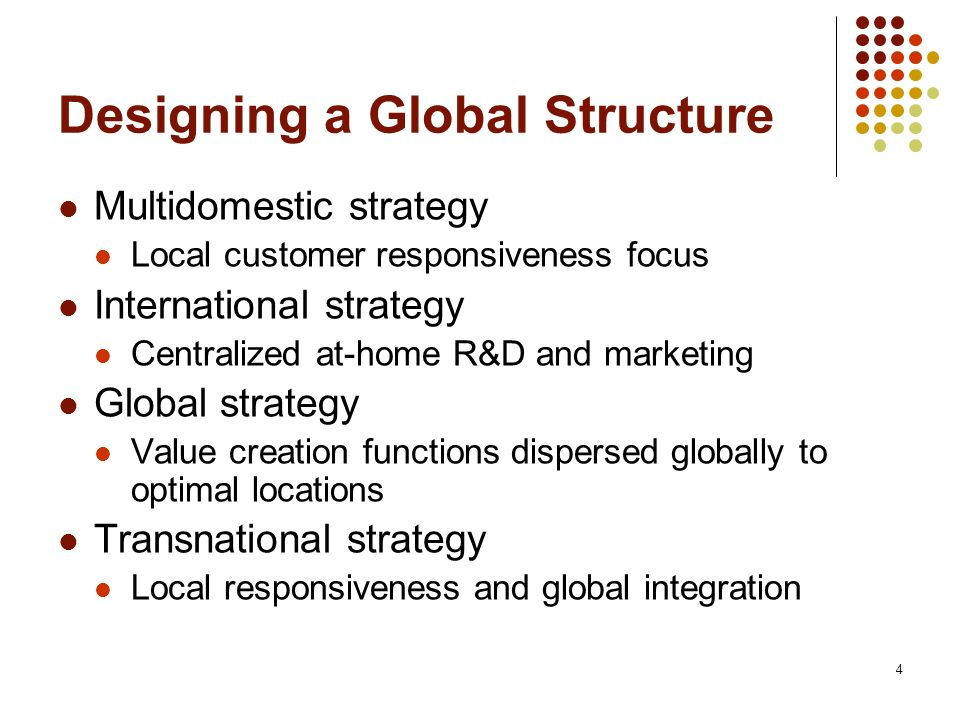 4 Designing a Global Structure Multidomestic strategy Local customer responsiveness focus International strategy Centralized at-home R&D and marketing Global strategy Value creation functions dispersed globally to optimal locations Transnational strategy Local responsiveness and global integration