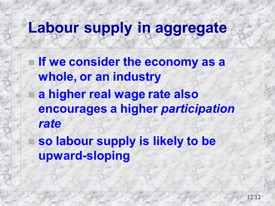 12.11 The individuals supply curve of labour Hours of work supplied Real wage SS 1 For the labour supply curve SS 1, an increase in the real wage indu