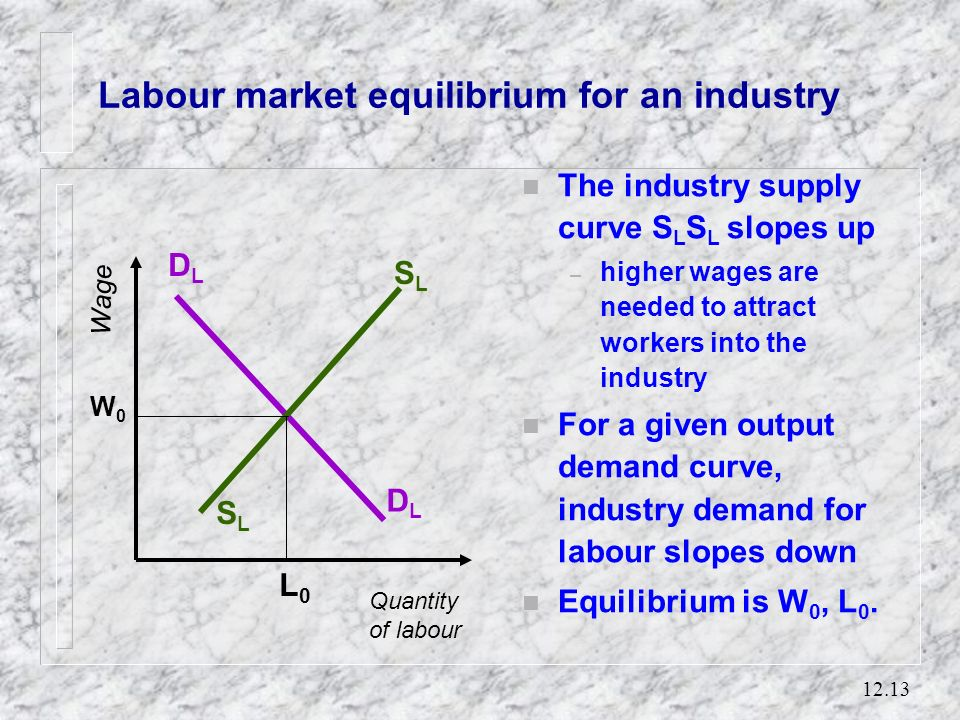 12.12 Labour supply in aggregate n If we consider the economy as a whole, or an industry n a higher real wage rate also encourages a higher participat