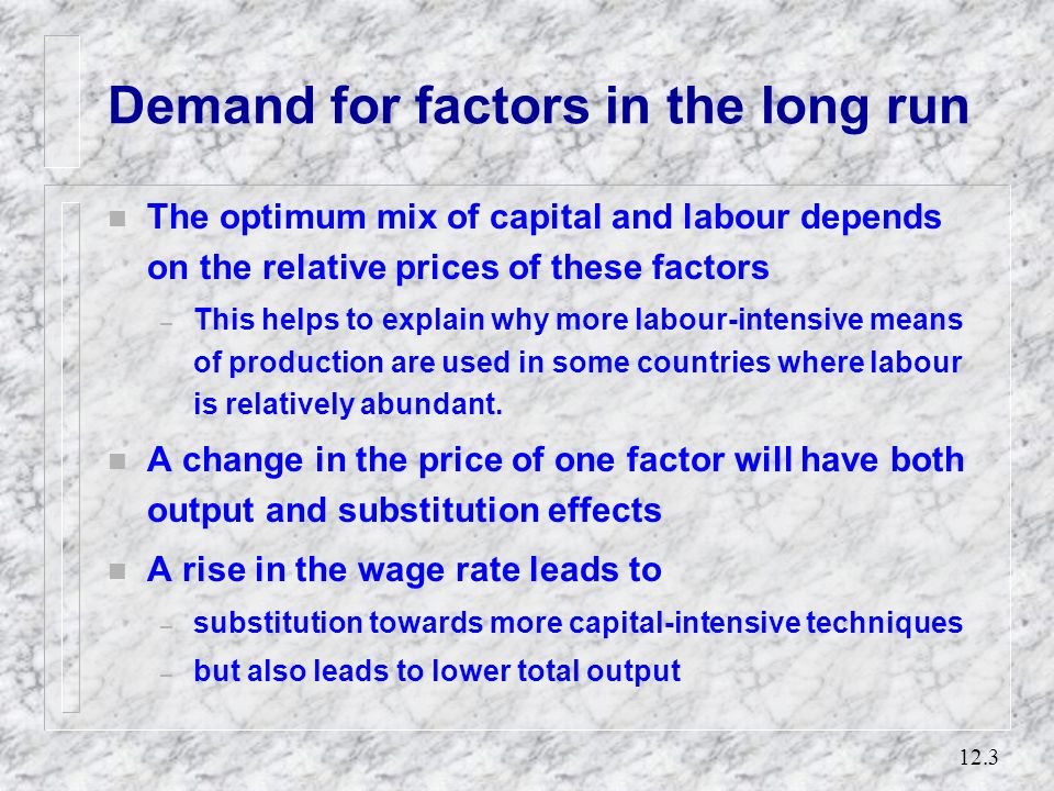 12.2 The demand for labour n Derived demand: – the demand for a factor of production is derived from the demand for the output produced by that factor