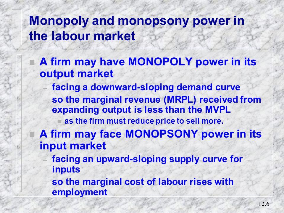 12.5 The demand for labour in the short run MVPL Employment Wage, MVPL W0W0 E …this occurs at E where wage = MVPL. L* Employment is L*. This decision