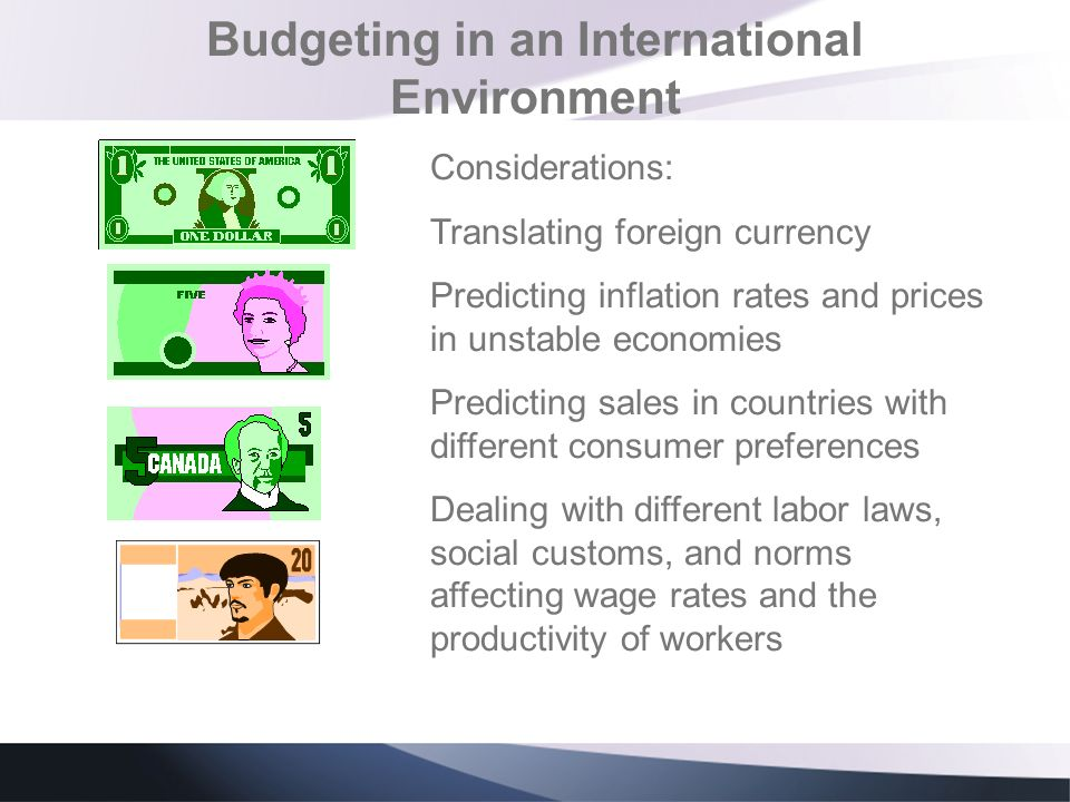 Budgeting in an International Environment Considerations: Translating foreign currency Predicting inflation rates and prices in unstable economies Pre