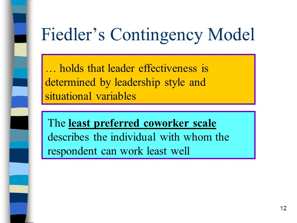 12 Fiedlers Contingency Model … holds that leader effectiveness is determined by leadership style and situational variables The least preferred cowork