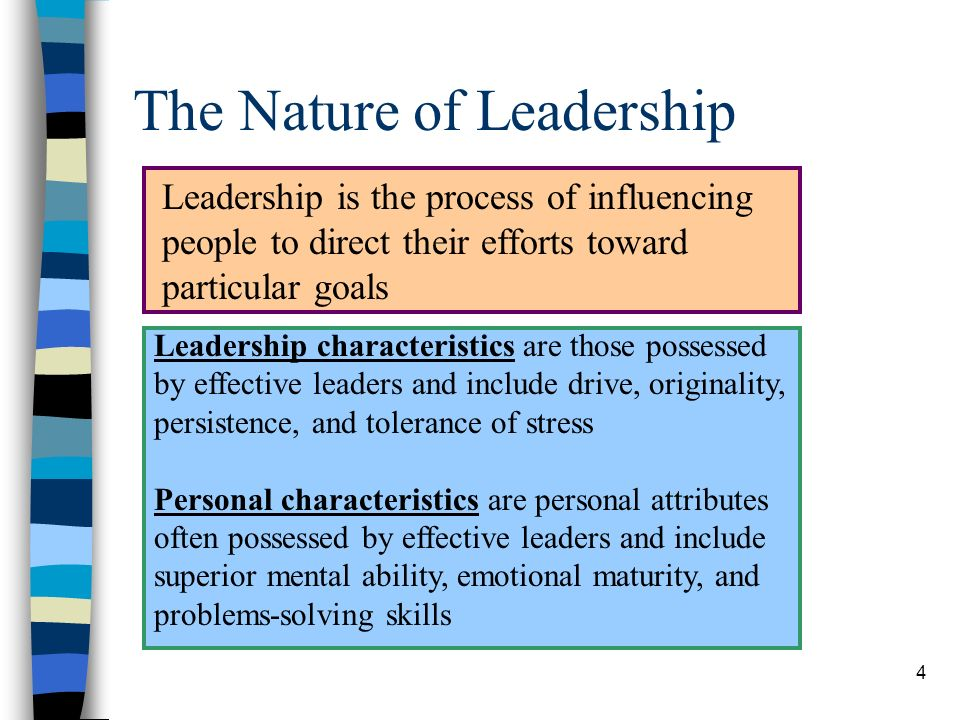 15 Key Terms in the Chapter Leadership Leadership characteristics Personal characteristics Trait theory Technical skills Human skills Conceptual skills Theory X Theory Y Authoritarian leadership Paternalistic leadership Participative leadership Laissez-faire leadership Leadership dimensions Fiedlers contingency model