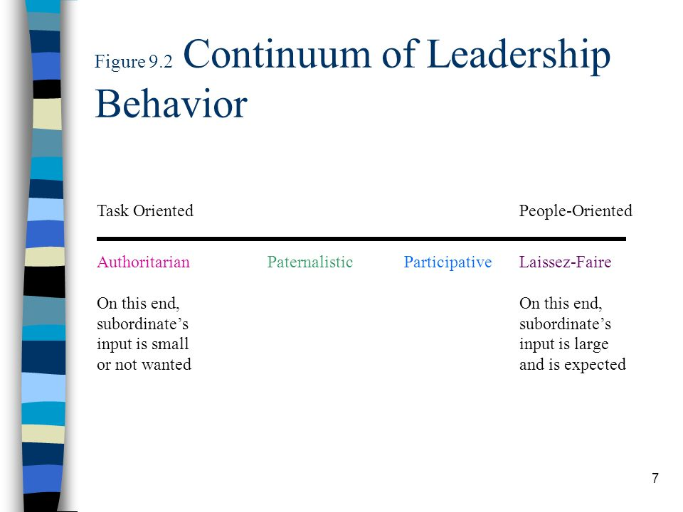 7 Figure 9.2 Continuum of Leadership Behavior Task Oriented Authoritarian On this end, subordinates input is small or not wanted PaternalisticParticip