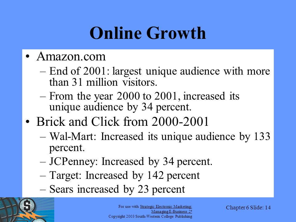 For use with Strategic Electronic Marketing: Managing E-Business 2 e Copyright 2003 South-Western College Publishing Chapter 6 Slide: 14 Online Growth Amazon.com –End of 2001: largest unique audience with more than 31 million visitors.