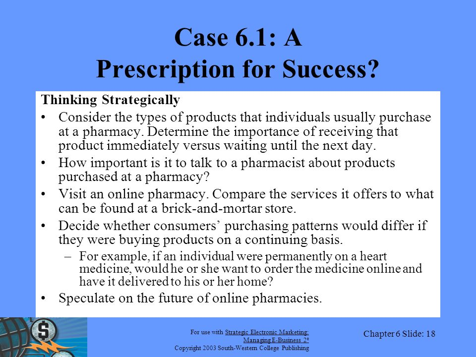 For use with Strategic Electronic Marketing: Managing E-Business 2 e Copyright 2003 South-Western College Publishing Chapter 6 Slide: 18 Case 6.1: A Prescription for Success.