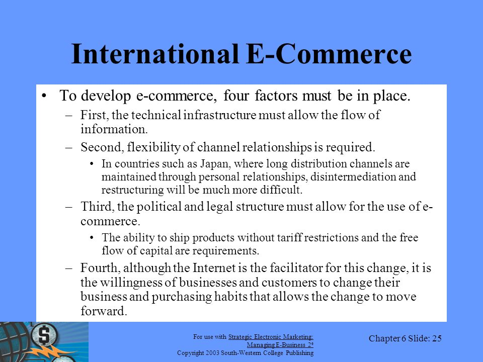 For use with Strategic Electronic Marketing: Managing E-Business 2 e Copyright 2003 South-Western College Publishing Chapter 6 Slide: 25 International E-Commerce To develop e-commerce, four factors must be in place.