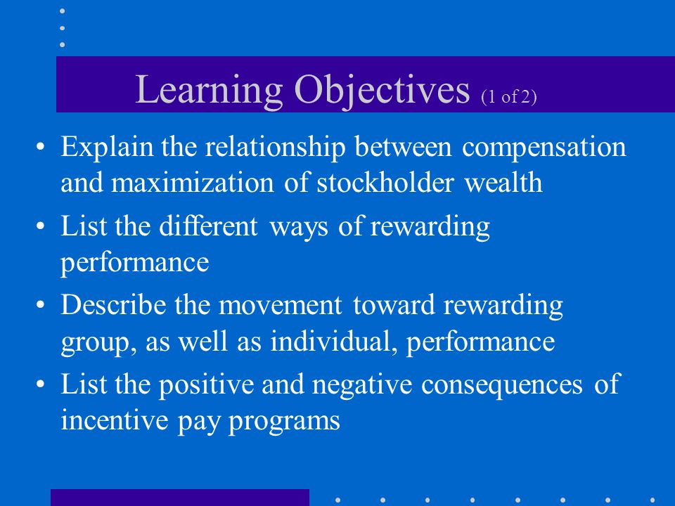Learning Objectives (1 of 2) Explain the relationship between compensation and maximization of stockholder wealth List the different ways of rewarding performance Describe the movement toward rewarding group, as well as individual, performance List the positive and negative consequences of incentive pay programs
