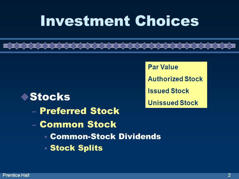 2Prentice Hall Investment Choices Stocks – Preferred Stock – Common Stock Common-Stock Dividends Stock Splits Par Value Authorized Stock Issued Stock Unissued Stock