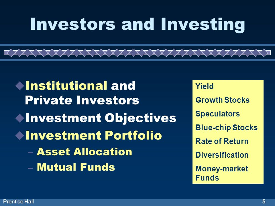 5Prentice Hall Investors and Investing Institutional and Private Investors Investment Objectives Investment Portfolio – Asset Allocation – Mutual Funds Yield Growth Stocks Speculators Blue-chip Stocks Rate of Return Diversification Money-market Funds