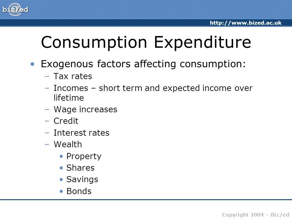 http://www.bized.ac.uk Copyright 2004 – Biz/ed Consumption Expenditure Exogenous factors affecting consumption: –Tax rates –Incomes – short term and e