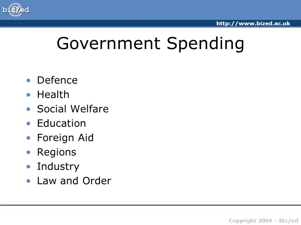 http://www.bized.ac.uk Copyright 2004 – Biz/ed Government Spending Defence Health Social Welfare Education Foreign Aid Regions Industry Law and Order