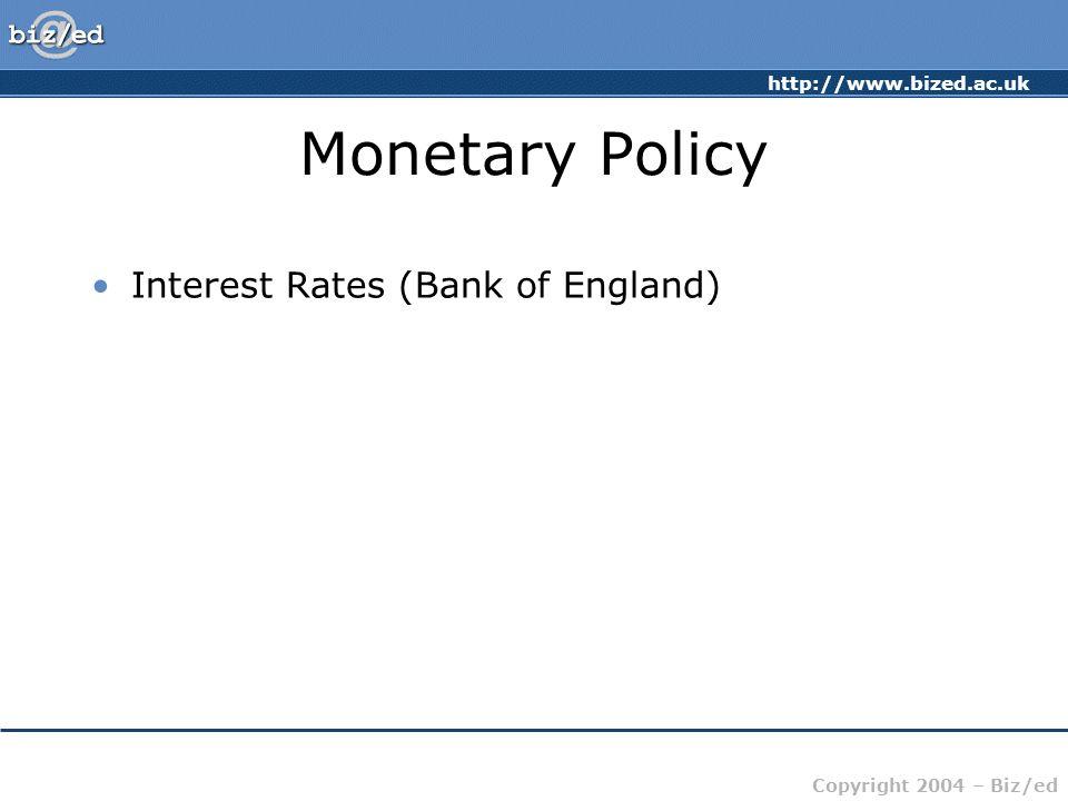 http://www.bized.ac.uk Copyright 2004 – Biz/ed Monetary Policy Interest Rates (Bank of England)