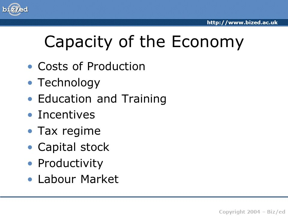 http://www.bized.ac.uk Copyright 2004 – Biz/ed Capacity of the Economy Costs of Production Technology Education and Training Incentives Tax regime Cap