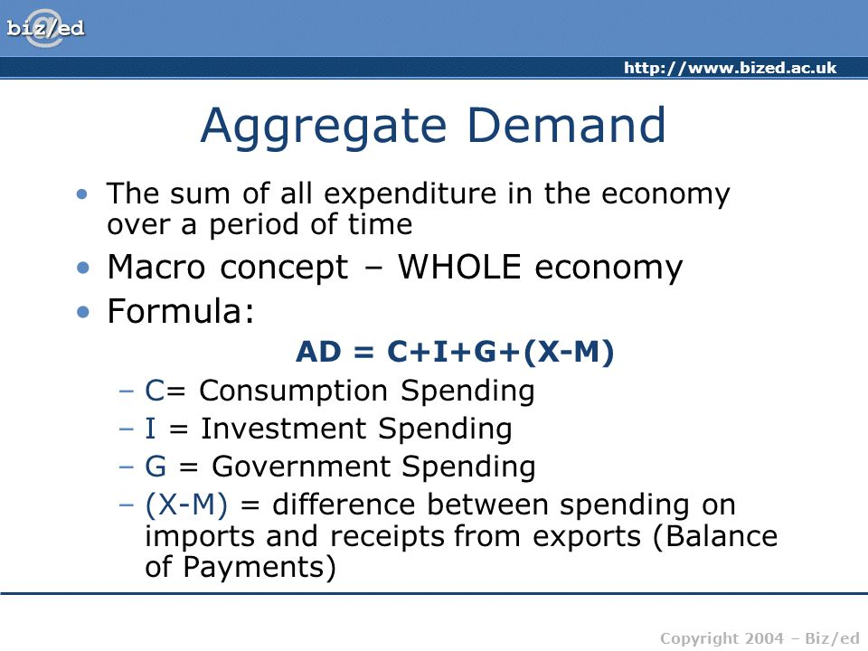 http://www.bized.ac.uk Copyright 2004 – Biz/ed Aggregate Demand The sum of all expenditure in the economy over a period of time Macro concept – WHOLE