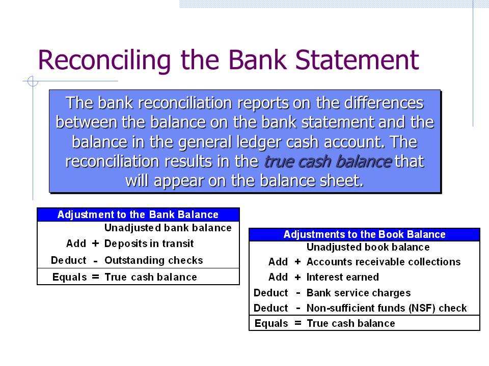 Reconciling the Bank Statement The bank reconciliation reports on the differences between the balance on the bank statement and the balance in the general ledger cash account.