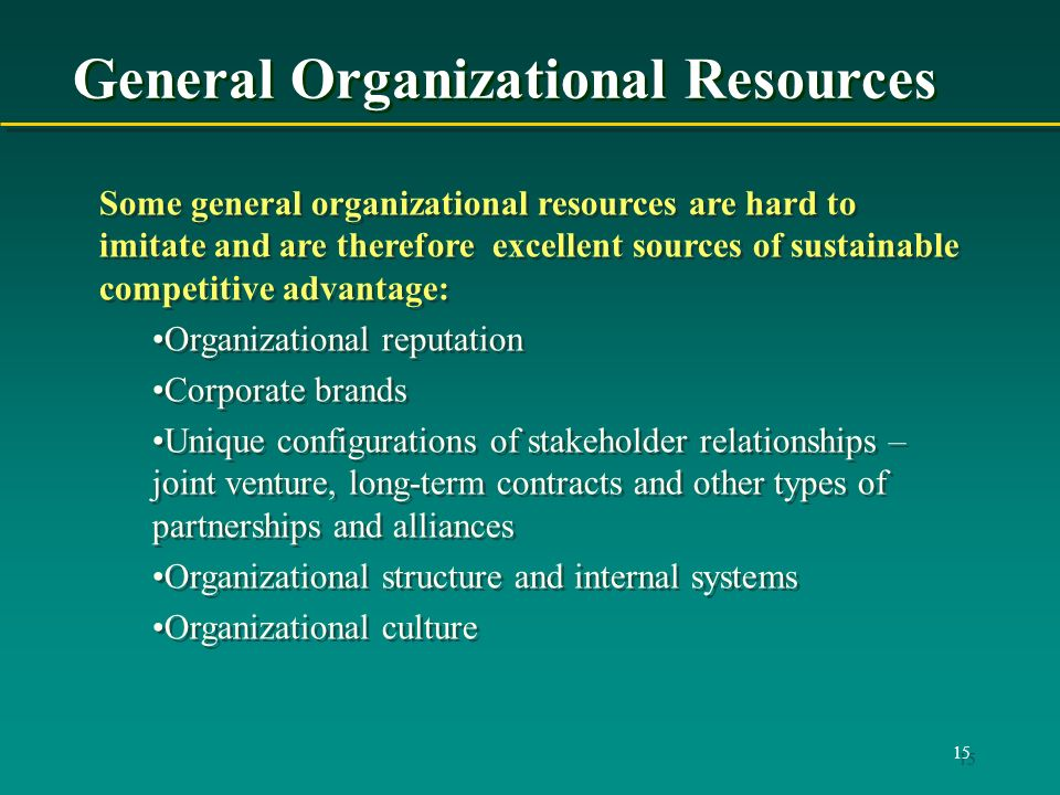 15 General Organizational Resources Some general organizational resources are hard to imitate and are therefore excellent sources of sustainable competitive advantage: Organizational reputation Corporate brands Unique configurations of stakeholder relationships – joint venture, long-term contracts and other types of partnerships and alliances Organizational structure and internal systems Organizational culture Some general organizational resources are hard to imitate and are therefore excellent sources of sustainable competitive advantage: Organizational reputation Corporate brands Unique configurations of stakeholder relationships – joint venture, long-term contracts and other types of partnerships and alliances Organizational structure and internal systems Organizational culture
