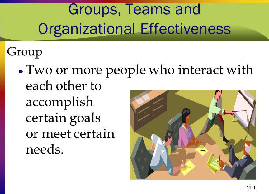 11-1 Groups, Teams and Organizational Effectiveness Group Two or more people who interact with each other to accomplish certain goals or meet certain