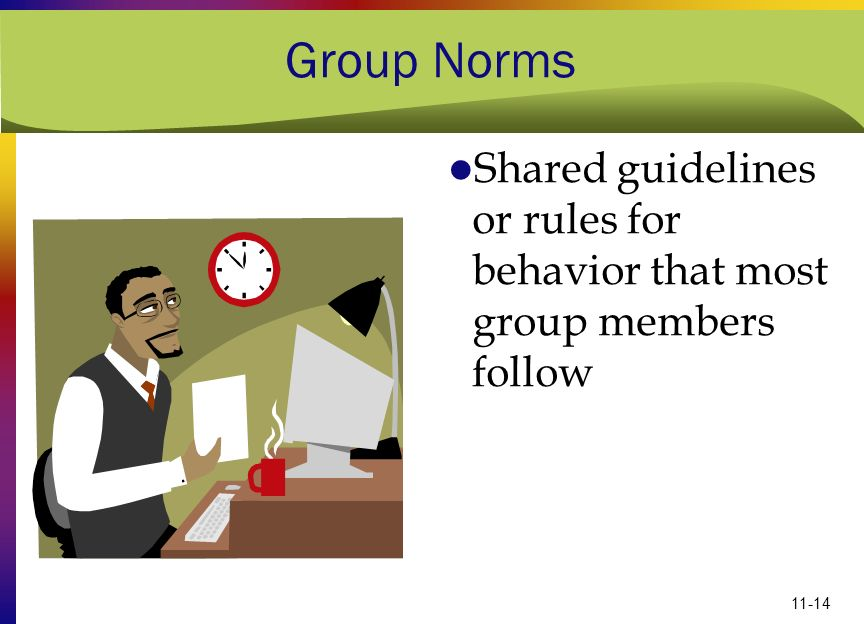 11-14 Group Norms Shared guidelines or rules for behavior that most group members follow