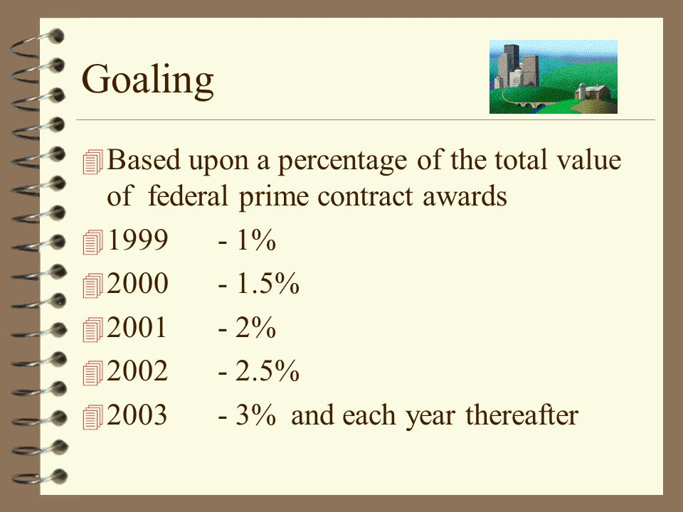 Goaling 4 Based upon a percentage of the total value of federal prime contract awards 4 1999 - 1% 4 2000 - 1.5% 4 2001- 2% 4 2002 - 2.5% 4 2003 - 3% a