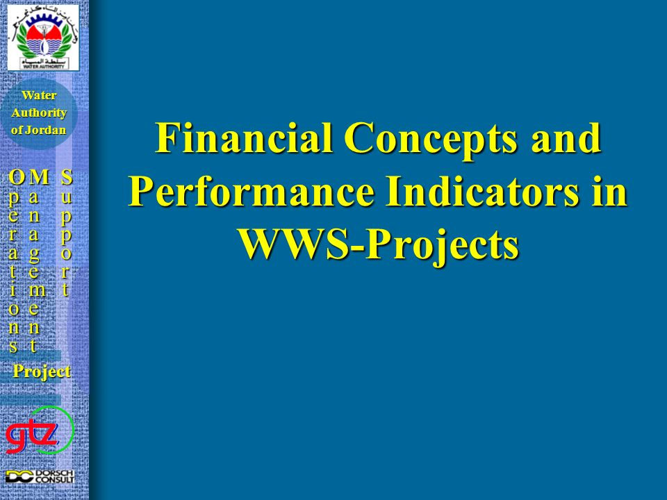 Financial Concepts and Performance Indicators in WWS-Projects OperationsOperationsOperationsOperations ManagementManagementManagementManagement SupportSupportSupportSupport Project Water Authority of Jordan