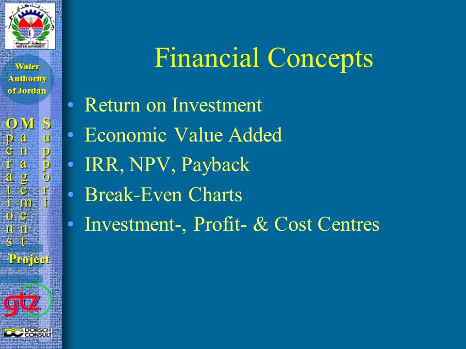 Financial Concepts Return on Investment Economic Value Added IRR, NPV, Payback Break-Even Charts Investment-, Profit- & Cost Centres OperationsOperationsOperationsOperations ManagementManagementManagementManagement SupportSupportSupportSupport Project Water Authority of Jordan