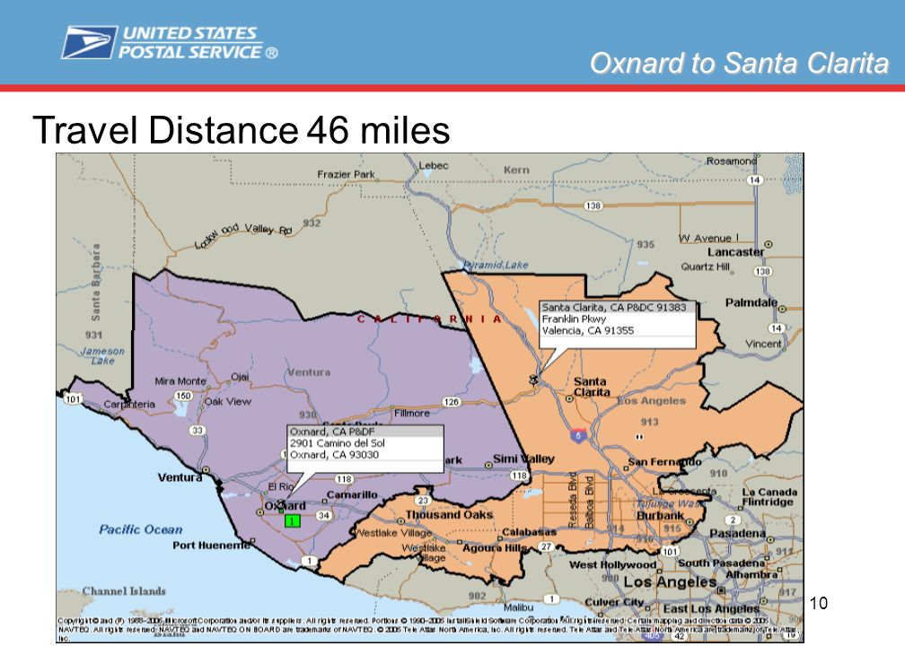 Slide 10 Oxnard to Santa Clarita Travel Distance 46 miles