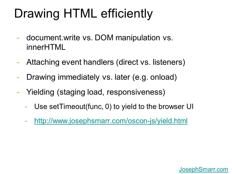 Joseph Smarr, Plaxo, Inc. JosephSmarr.com Drawing HTML efficiently -document.write vs. DOM manipulation vs. innerHTML -Attaching event handlers (direc