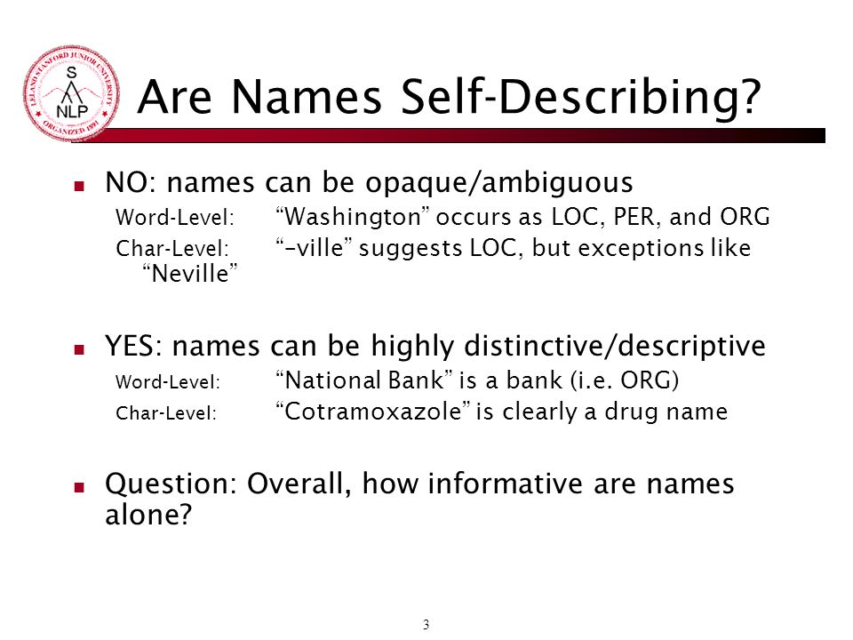 4 How Internally Descriptive are Isolated Named Entities.