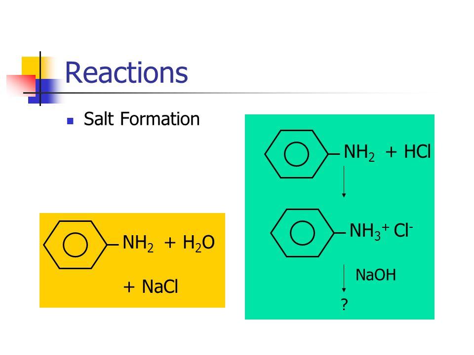 NH 2 + HCl Reactions Salt Formation NH 3 + Cl - NaOH ? NH 2 + H 2 O + NaCl