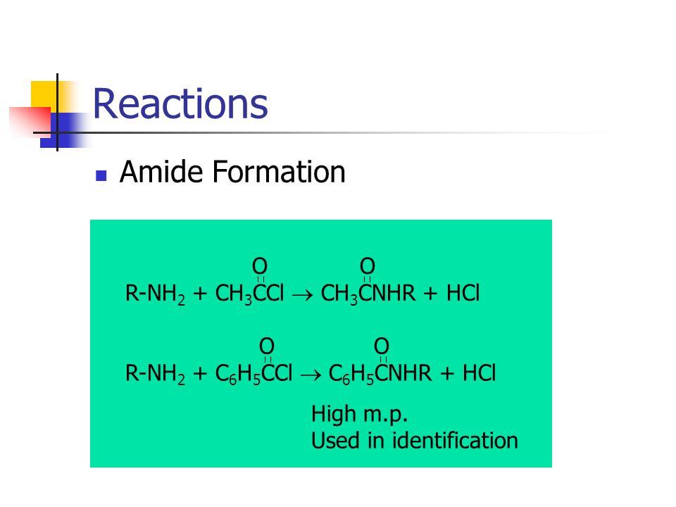 Reactions Amide Formation O O R-NH 2 + CH 3 CCl CH 3 CNHR + HCl O O R-NH 2 + C 6 H 5 CCl C 6 H 5 CNHR + HCl High m.p. Used in identification