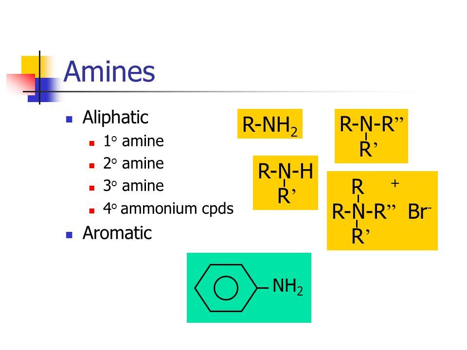 Amines Aliphatic 1 o amine 2 o amine 3 o amine 4 o ammonium cpds Aromatic R-NH 2 R-N-H R R-N-R R R + R-N-R Br - R NH 2