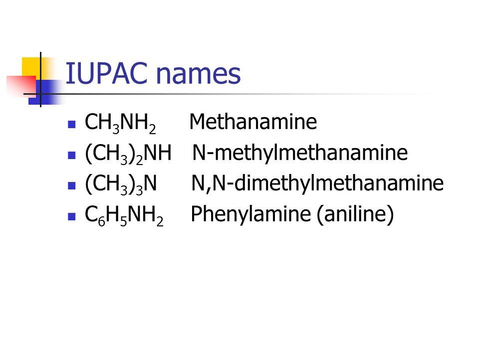 IUPAC names CH 3 NH 2 Methanamine (CH 3 ) 2 NH N-methylmethanamine (CH 3 ) 3 N N,N-dimethylmethanamine C 6 H 5 NH 2 Phenylamine (aniline)