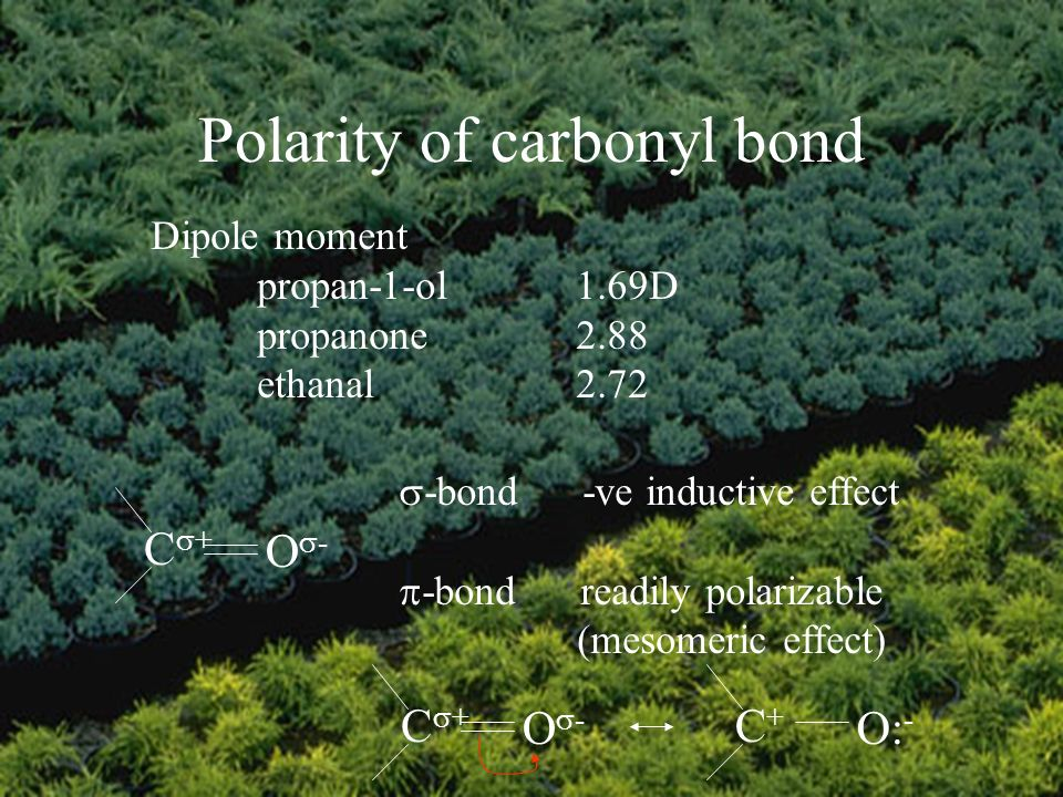 Polarity of carbonyl bond Dipole moment propan-1-ol1.69D propanone2.88 ethanal2.72 C + O - -bond -ve inductive effect -bond readily polarizable (mesomeric effect) C + O - C+C+ O: -