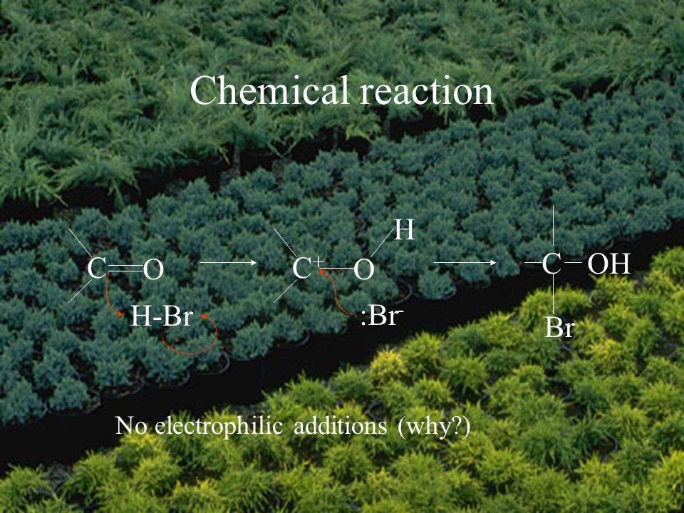 Chemical reaction No electrophilic additions (why ) C O H-Br C+C+ O H :Br - COH Br