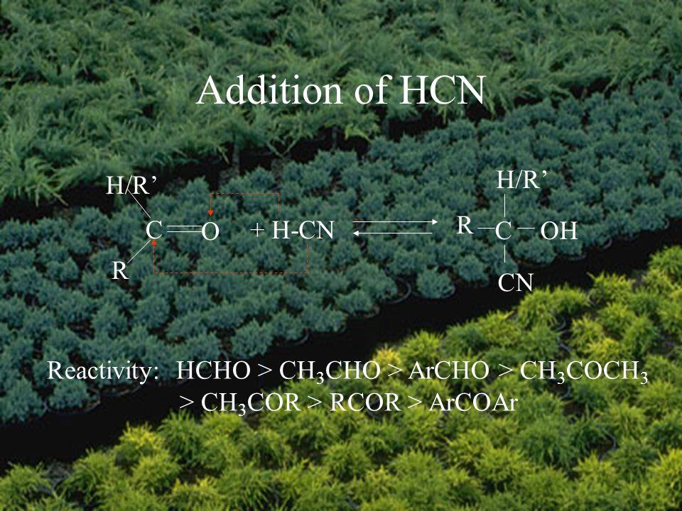Addition of HCN C O H/R R + H-CN COH CN H/R R Reactivity: HCHO > CH 3 CHO > ArCHO > CH 3 COCH 3 > CH 3 COR > RCOR > ArCOAr