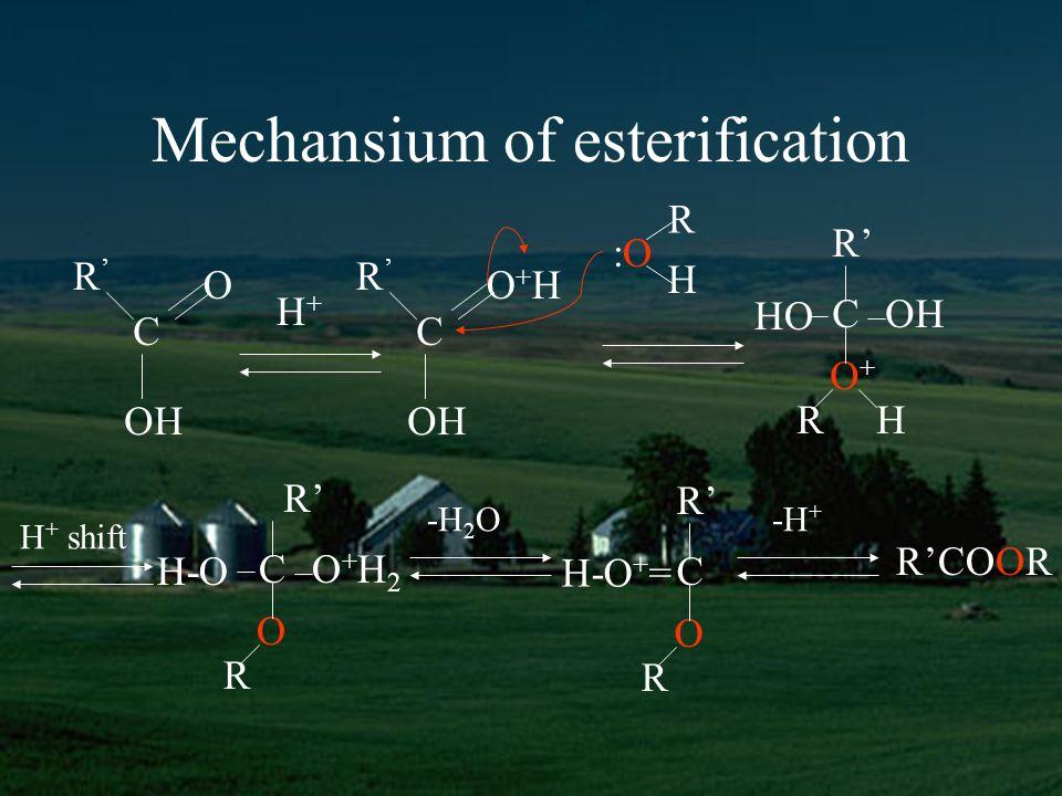 Mechansium of esterification R C O R OH H+H+ C O+HO+H R :O:O H C R HO OH O+O+ RH C R H-O O+H2O+H2 O R H + shift C R H-O + = O R -H 2 O-H + RCOOR